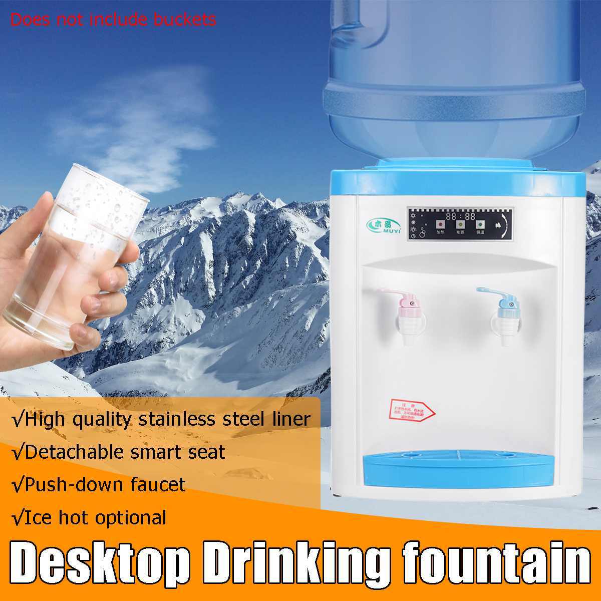 Desktop Water Cooler Dispenser Water Filter Hot/Cold 220V 550W Removable Water Storage Drink Machine Light indicator 3 mode