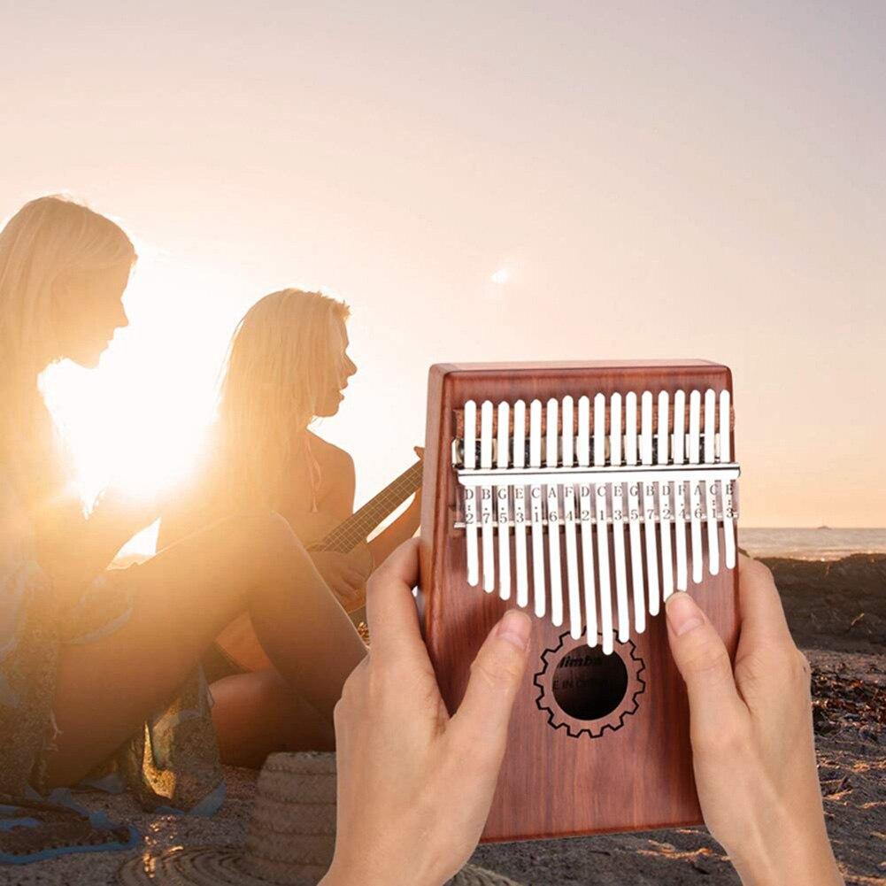 17 Keys Kalimba Thumb Piano Imported solid Mahogany Body Musical Instrument With EVA Case Learning Book Tune Hammer