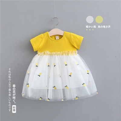 Платье для малышей 2019 г. Летнее однотонное платье без рукавов с бантом и цветочным принтом, вышитая Марля с фруктами, Мини-Платье До Колена