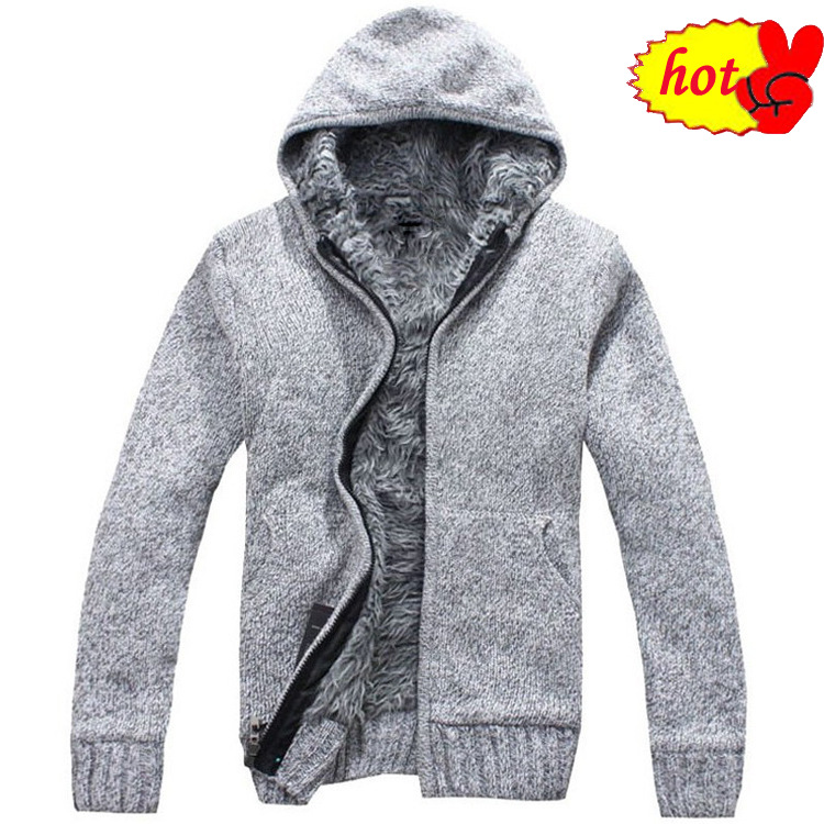 Autumn Winter Mountainskin Men's Thick Casual Warm Hoodies Fur Inside Outwear Mens Hooded Coat Thermal Sweatshirt
