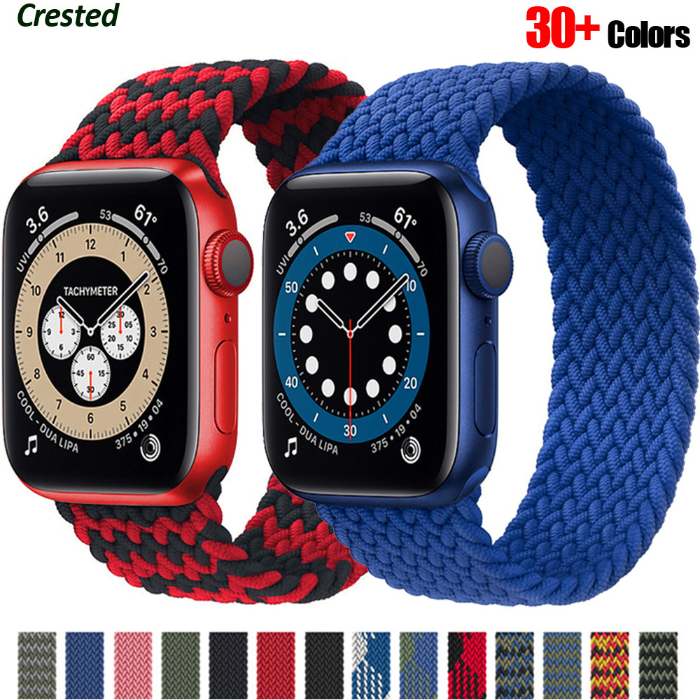 Плетеный соло петля для наручных часов Apple watch, версии 44 мм 40 мм, 38 мм, 42 мм, 40-44 мм текстильный нейлоновый эластичный браслет наручных часов ...
