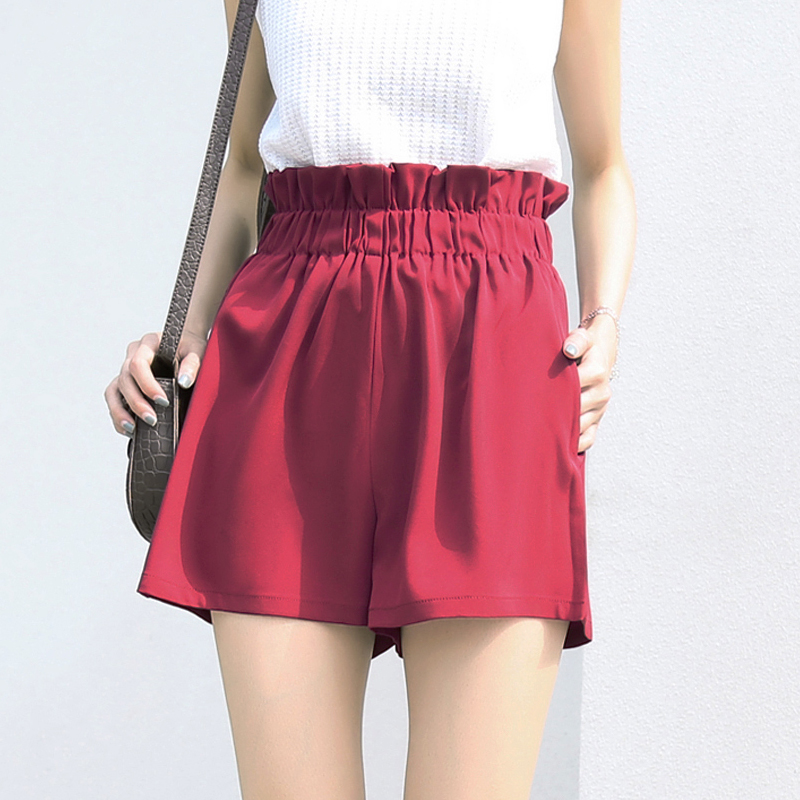 Women Shorts Casual Summer Wide Leg Shorts Harajuku Girls Short Loose Elastic Waist Red Shorts Beach Correndo Short Pants S-3XL