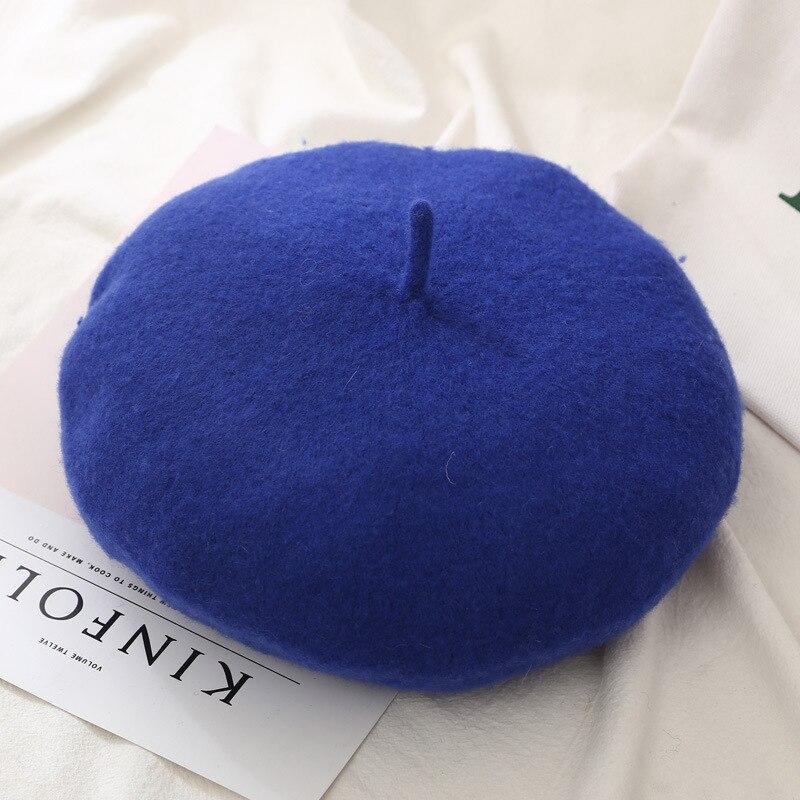 Женские береты на весну и зиму, шапка в стиле художника, женские шерстяные винтажные береты, однотонные кепки, женская шапка, теплая прогулочная шапка - Цвет: RoyalBlue