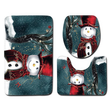 3pcs/set Christmas Decoration Bathroom Carpet Rug Xmas Tree Printing Anti-slip Floor Mat Bathroom Rug Toilet Cover Bath Mats christmas snow night tree antiskid bath rug