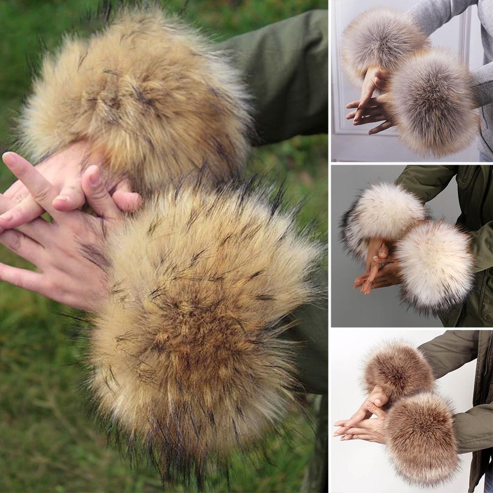 1 pair Solid Color Women Fashion Winter Warm Faux Fur Elastic Wrist Protector Slap On Cuffs Ladies Arm Warmer Plush Coat Sleeve