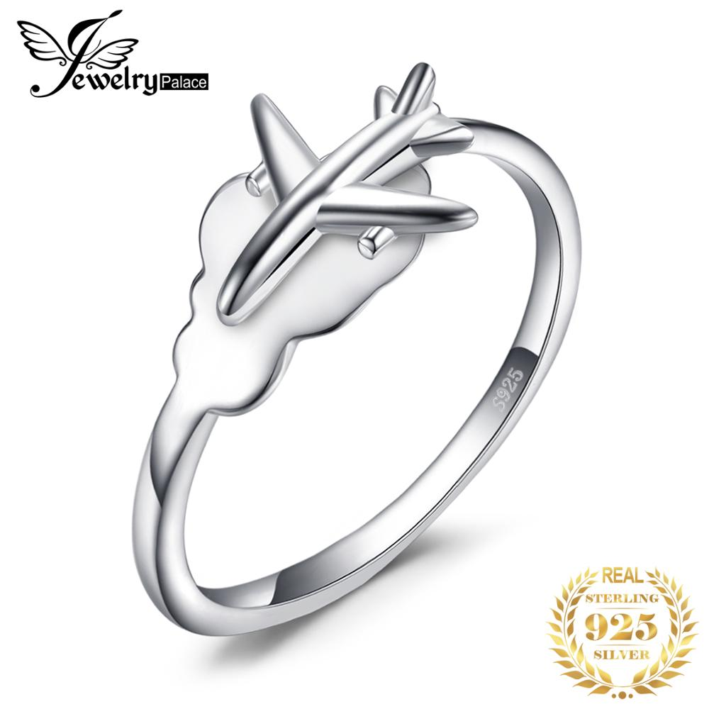 JewelryPalace Global Airplane Ring 925 Sterling Silver Rings for Women Open Stackable Rings Silver 925 Jewelry Fine Jewelry image