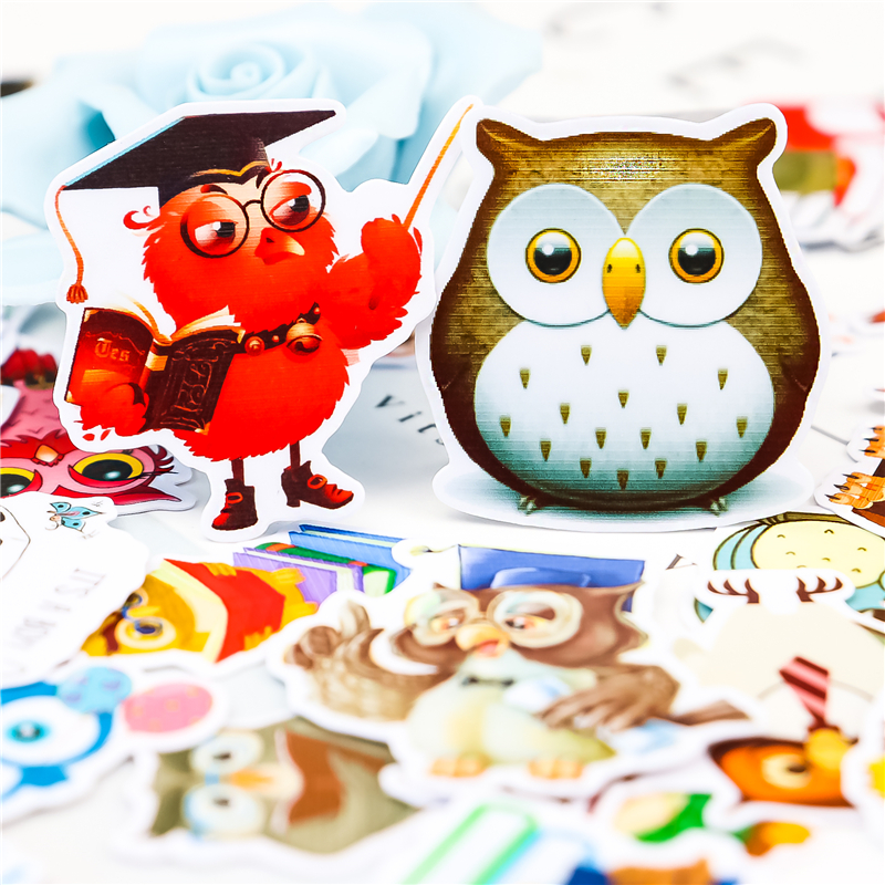 40pcs Cute Owl Animal  Stickers DIY Decal Mobile/PC Art  Self Adhesive Scrapbooking Stickers Car Sticker Child Stationery