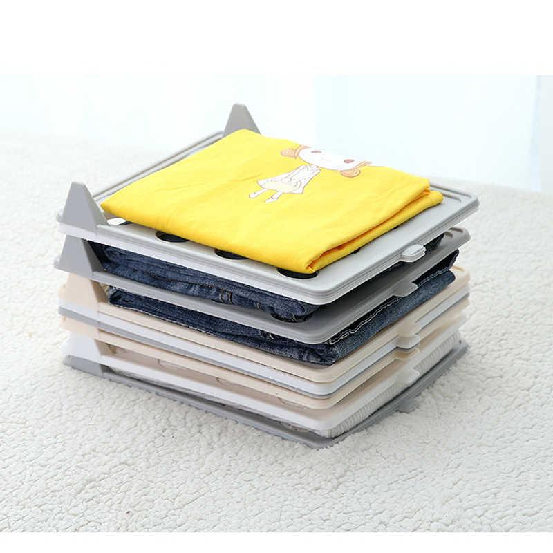 10Pcs 빠른 옷 접기 보드 의류 조직 시스템 셔츠 폴더 여행 옷장 서랍 스택 가정용 옷장 주최자