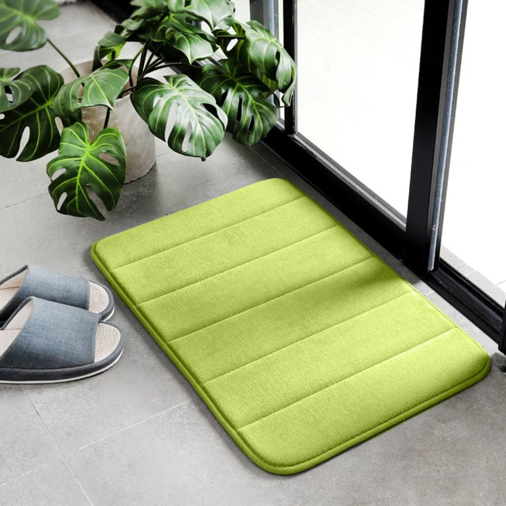 Memory Foam Pad Thick Fleece Slow Rebound Bathroom Kitchen Vertical Striped Carpet Non-slip Soft Doormat