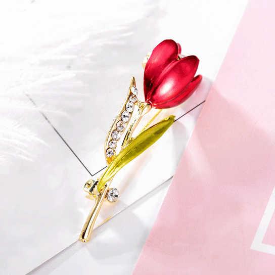 Spille Gioielli Spilla Spille Strass di Cristallo Del Costume Elegante Del Fiore Del Tulipano per La Cerimonia Nuziale Vestiti Accessori Circa 5 Cm * 1.5 Centimetri