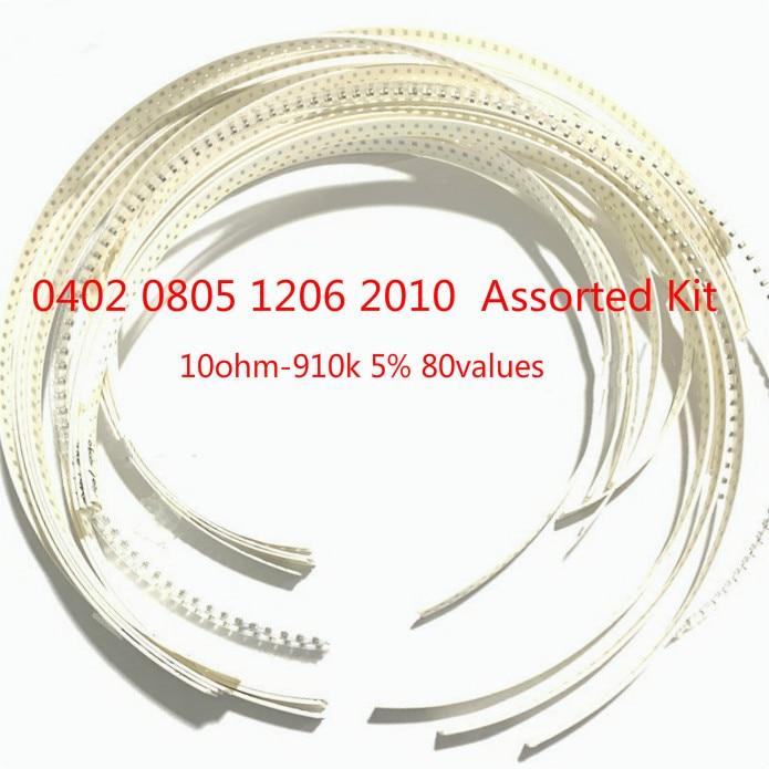 Комплект резисторов 0402/0805/1206/2010 10 Ом-910 k, 80 значений, наборы ассортимента резисторов 5% SMD, 10R 100R 1K 10 K 100K 1,2 k 12K 120K