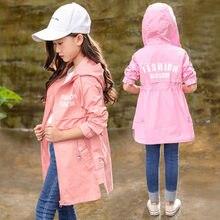 цена Girls Hooded Trench Coats For Girls Teenage Long Windbreaker Children Clothing 2019 Fall New Fashion Kids Clothes School Outfits онлайн в 2017 году