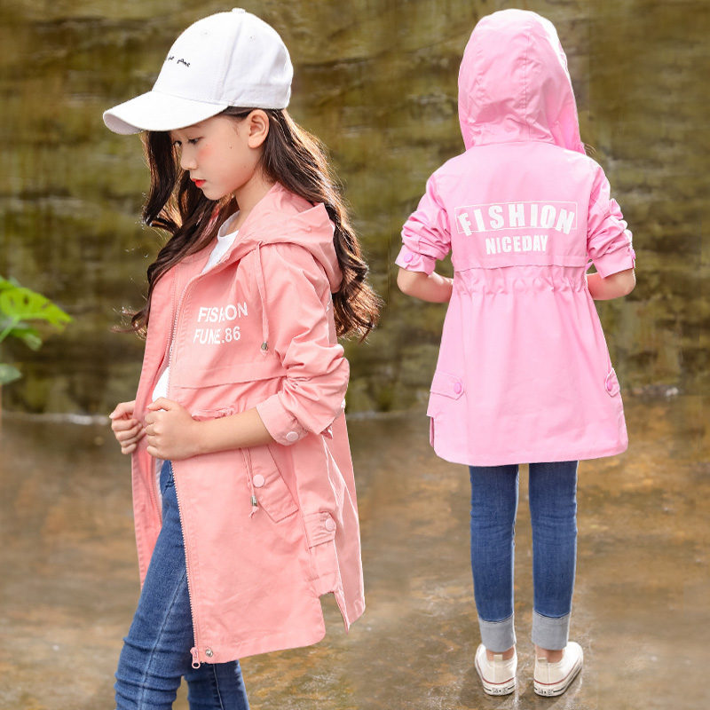 Girls Hooded   Trench   Coats For Girls Teenage Long Windbreaker Children Clothing 2019 Fall New Fashion Kids Clothes School Outfits