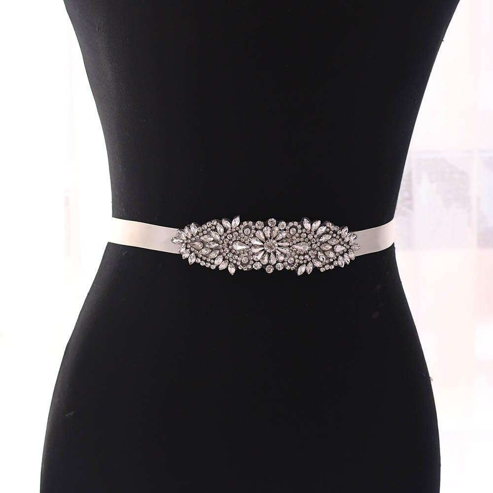 TRiXY S446 Shinny Crystal Bridal Belt Handmade Rhinestones Belt Wedding Belt Silver Diamond Belt Factory Direct Bridal Belt