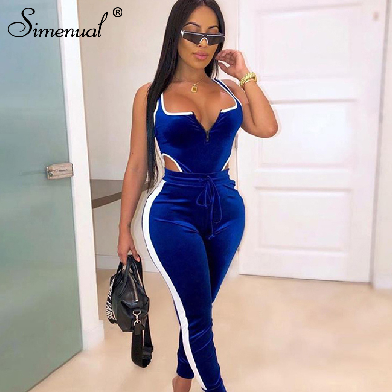 Simenual Velvet Sexy V Neck Women Matching Set Fashion 2019 Sleeveless Athleisure Two Piece Outfits Hot Bodysuit And Pants Sets(China)