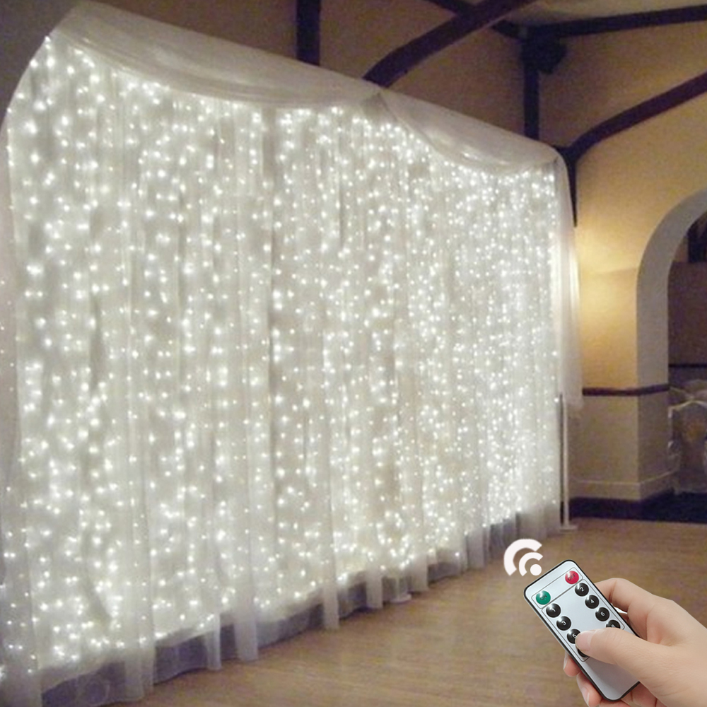 3x3/6x2 Remote Control Icicle Curtain Fairy Lights Christmas Lights LED String Lights Garland Party Garden Street Wedding Decor