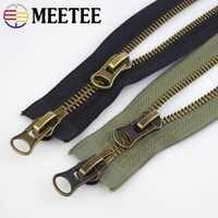 Meetee 8 # Metall-reißverschluss 70/80/90/100/120cm Doppel Sliders für Mantel Unten jacke Zip Reparatur DIY Kleidung Nähen Schneider Zubehör