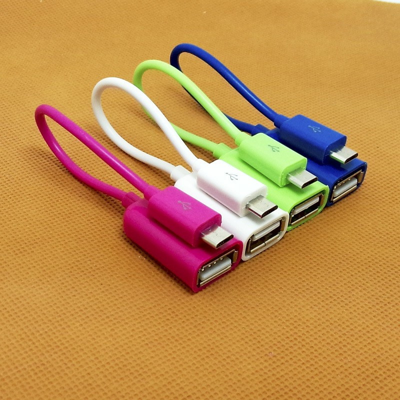 100% Tested Colorful Host Micro USB To USB Mini OTG Cable Adapter For Samsung Xiaomi HTC LG Android Phone For Flash Drive Glossy