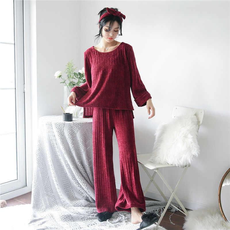 パジャマのスーツの女性フランネルグリーンホーム服サンゴフリースナイトウェアバスローブ長袖ソフト秋着物ドレスランジェリー