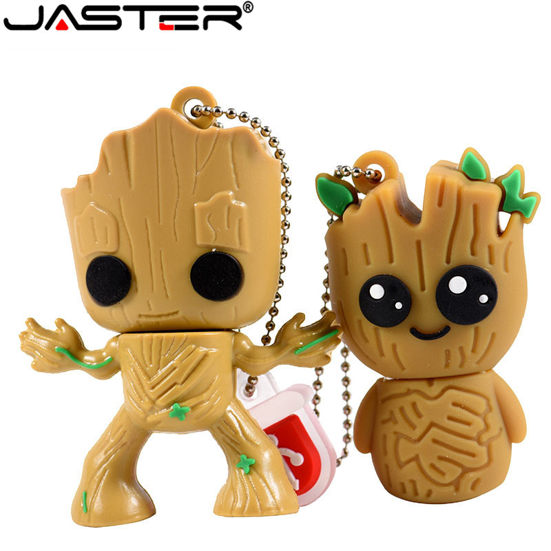 JASTER Lovely Cartoon Groot Usb Flash Drive Disk Cute Super Heros Memory Stick Pen Drive 4gb 8g 16gb 32gb 64gb Creative Pendrive