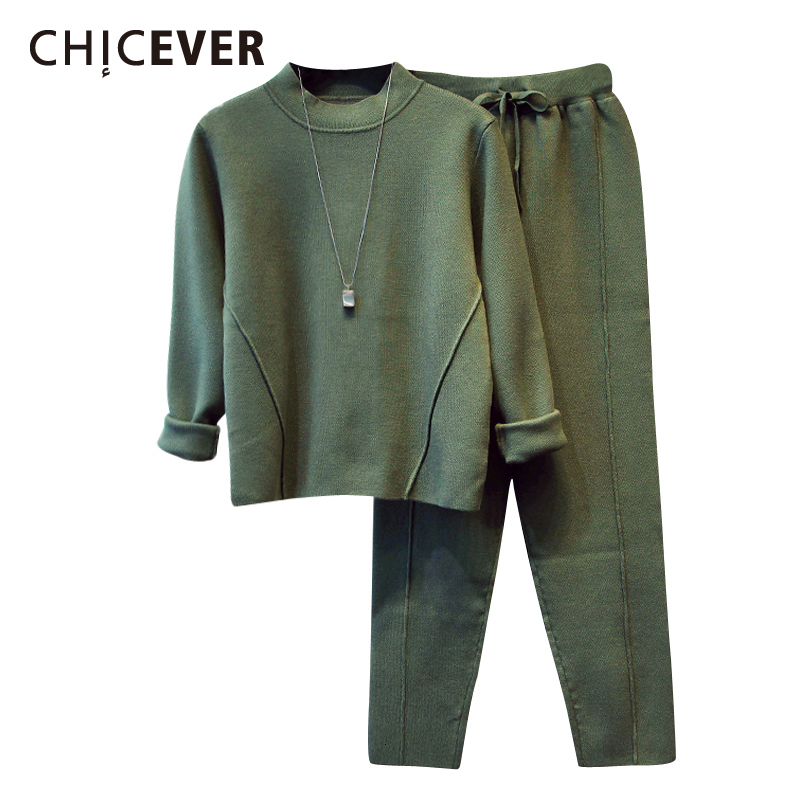 CHICEVER Korean Two Piece Set For Women O Neck Long Sleeve Knitted Sweatshirt Harem Pants Plus Size Suit Female 2019 Fashion New