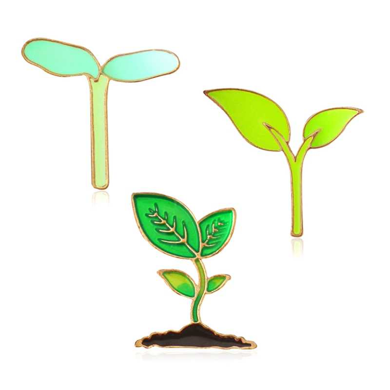 Fresco Natural Bonito Brotos de Brotos Verdes Drip Broche Pin Broche Acessório Grama Planta Broto de Feijão Verde Botões Pin Presente