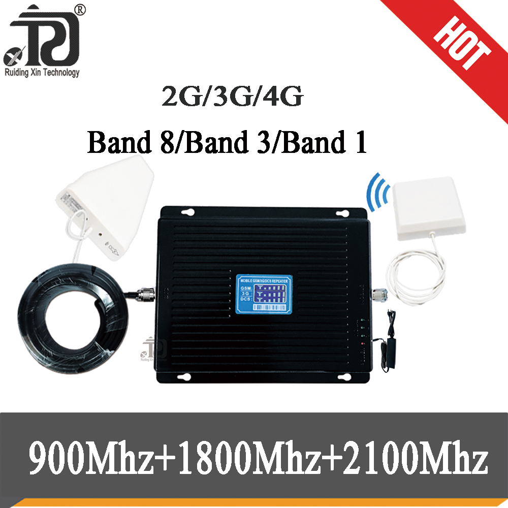Specially For Russia 900 1800 2100  Tri Band Signal Booster 2G 3G 4G  80dB Gain Signal Repeater GSM WCDMA UMTS LTE Cellular Repe