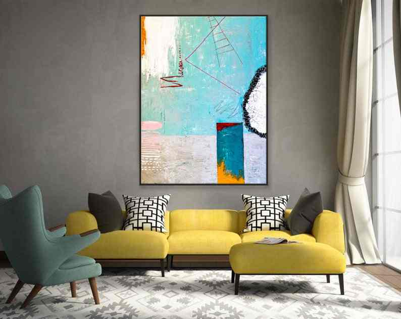 Abstract Painting Large Acrylic Canvas Wall Art Colorful And Playful Expressionism Modern Painting Wall Art On Canvas Tale III