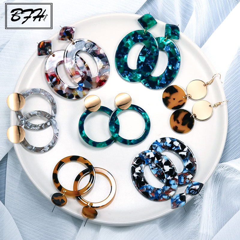 BFH Tassel Acrylic Earrings For Women Bohemian Earrings Big Geometric Drop Earring 2020 Brincos Female DIY Fashion Jewelry