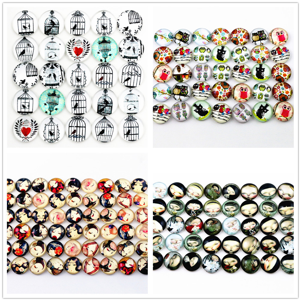 50pcs 12mm New Fashion Mixed Japan Girl  Skull Owl Style Handmade Photo Glass Cabochons Pattern Jewelry Accessories Supplie