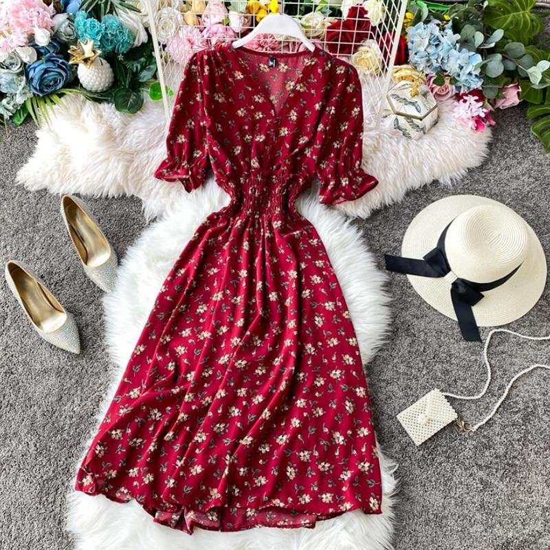 2020 Slim Vintage Floral Print Chiffon Dress V Neck Summer Elastic waist Midi Dress Women Elegant Beach A-Line dress Vestido