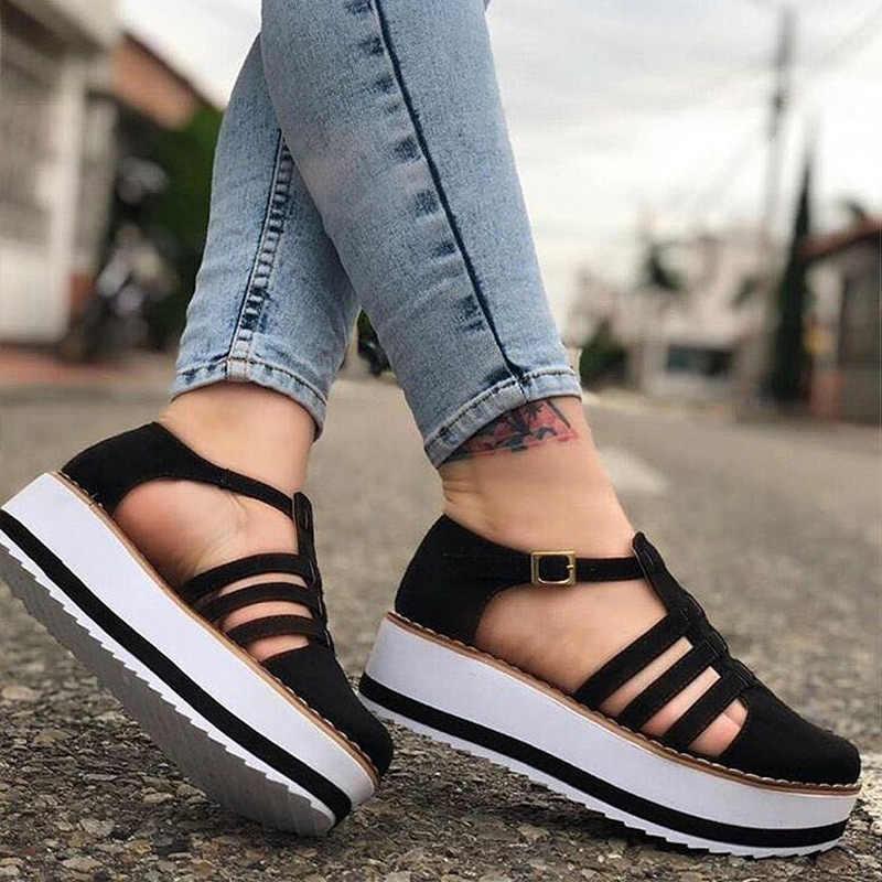 Giày Nữ 2020 Nền Tảng Mới Giày Cho Mùa Hè Vulcanize Giày Nữ Plus Kích Thước Chun Giày Thiết Kế Giày Người Phụ Nữ