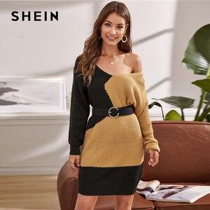 Image 4 - שיין צבעים V צוואר שני טון מקרית Loose סוודר שמלה ללא חגורת נשים 2019 סתיו ארוך שרוול קצר ישר שמלות