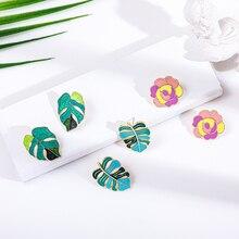 Fashion Green Leafs Earrings Korea Enamel Plant Tree Leaves Stud Earrings for Women Elegant Statement Party Jewelry Gift