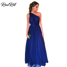Real Rill One Shoulder Prom Dresses 2019 Tulle Floor Length Long A Line Dress For Party