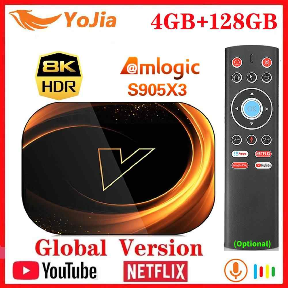 Yojia Smart 8K TV Box Android 9.0 Amlogic S905X3 Max 4GB RAM 128GB ROM 64GB 1000M double Wifi Netflix Youtube 2G/16G lecteur multimédia
