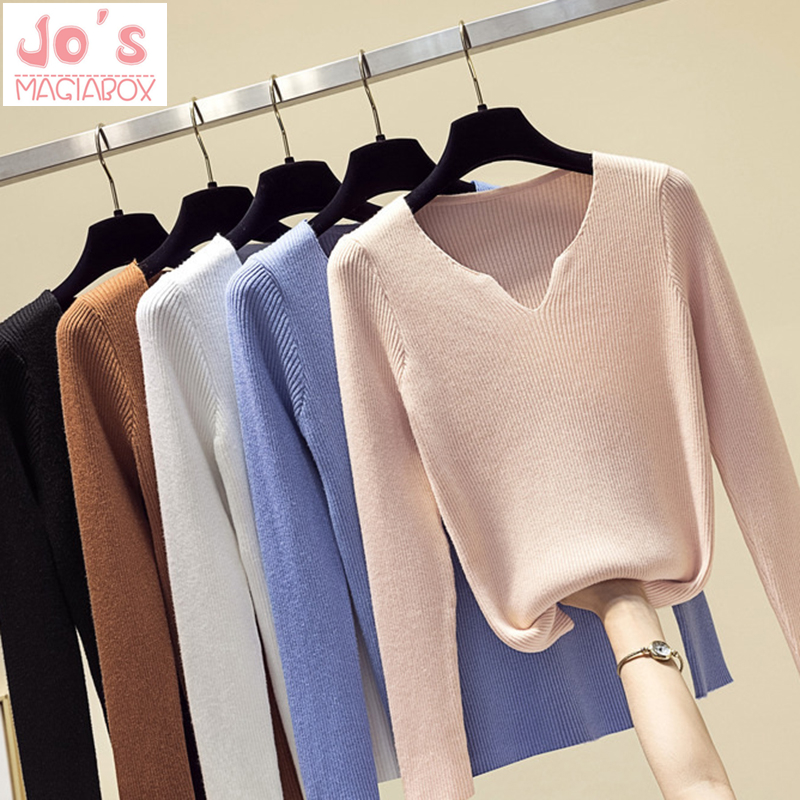 Winter Knitted Women Sweaters And V-Neck Long Sleeve Casual Pullovers Sueter Mujer Tops Vintage Solid Sweet Korean Jumper