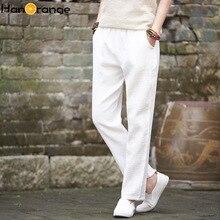 2019 Spring Autumn Retro Vintage Soft Sweat Trousers Original Cotton Linen Women Ankle Length Straight Pants
