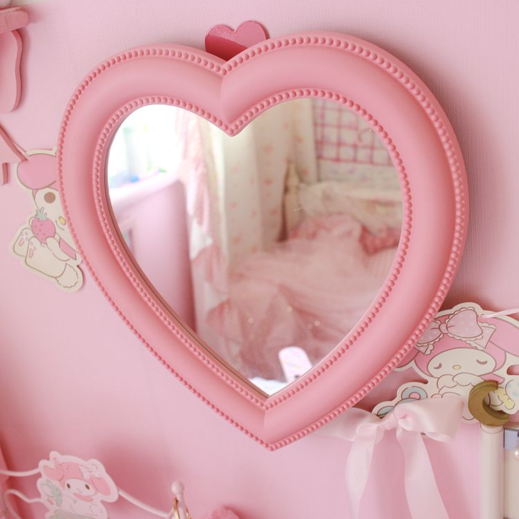 Pink Love Heart-shaped Cosmetic Mirror Makeup Wall Hanging Mirrors For Girls