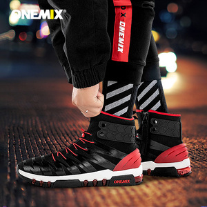 Image 1 - ONEMIX 2019 גברים מגפי נעלי ריצה לנשים סניקרס גבוהה למעלה חורף שלג מגפיים חיצוני עמיד למים הליכה טרקים נעל
