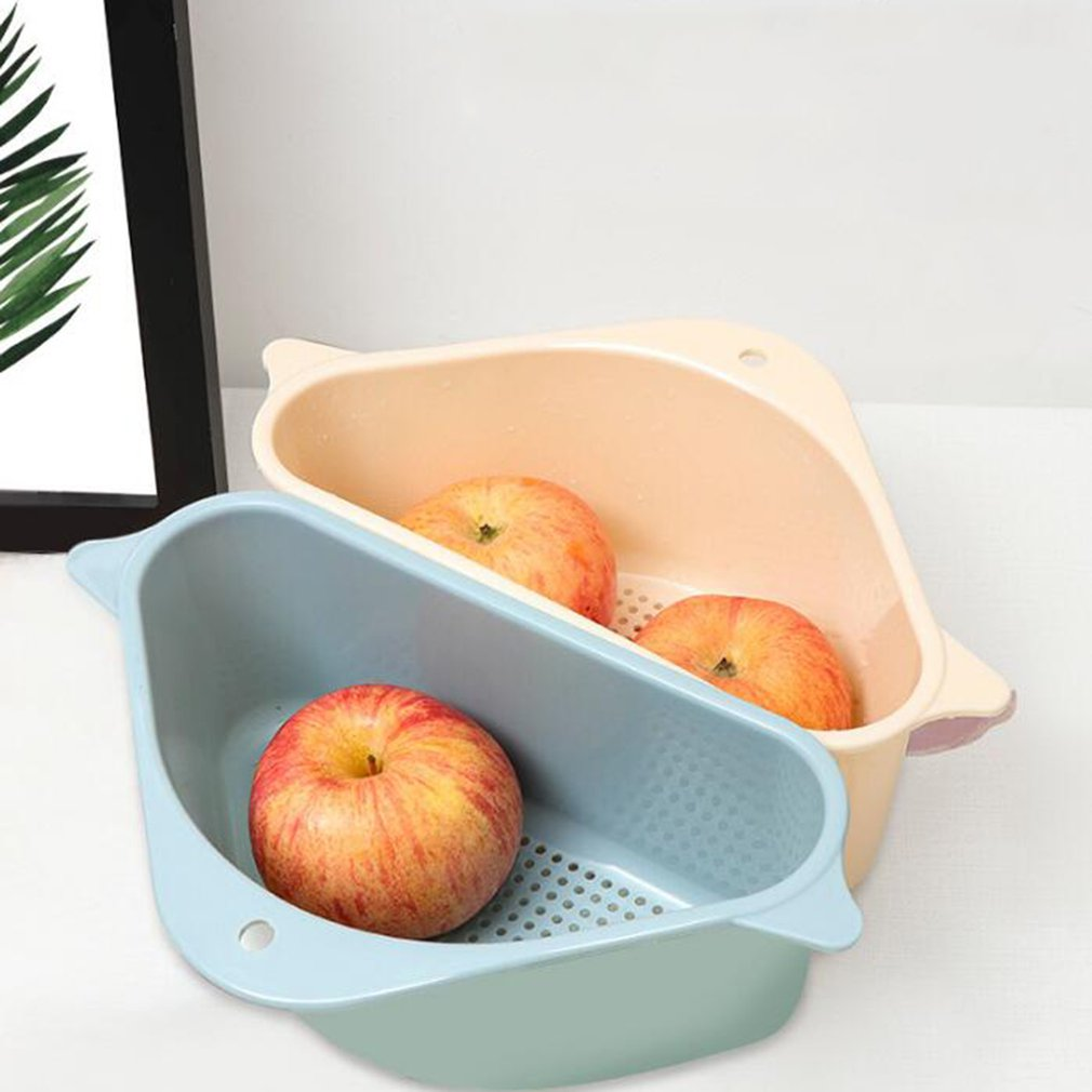 Kitchen Triangular Sink Strainer Drain Vegetable Shelving Suction Cup Sink Filter Shelf Sponge Rack Storage Tool Drainer Basket