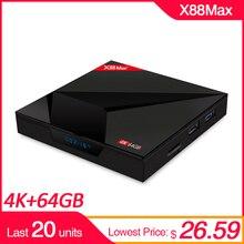 X88 MAX + RK3328 4GB DDR3 64GB caja de TV inteligente Android 8,1 de 2,4G 5G Dual WiFi quad Core 4K HD tipo c USB3.0 BT4.0 USB SET TOP BOX