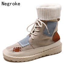 Autumn Winter Womens High Top Boots Nubuck Plus Velvet Warm Plush Casual Sneakers Round Toe Lace-Up Flat Sock