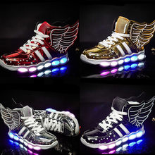 Children Wings Light Shoes Mirror High Top Shoes USB Charging Sneakers Boys Girls Sports Shoes Autumn LED Illuminating Shoes(China)