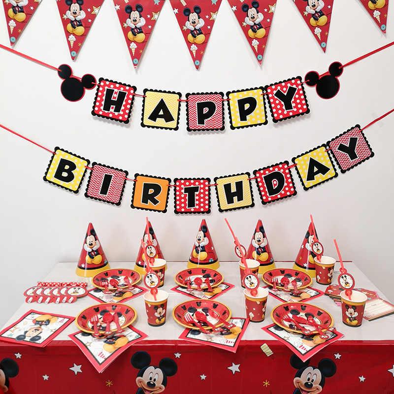 Chłopcy urodziny Mickey jednorazowe zastawy stołowe zestaw filiżanek Mickey Mouse hat balony dekoracje na baby shower