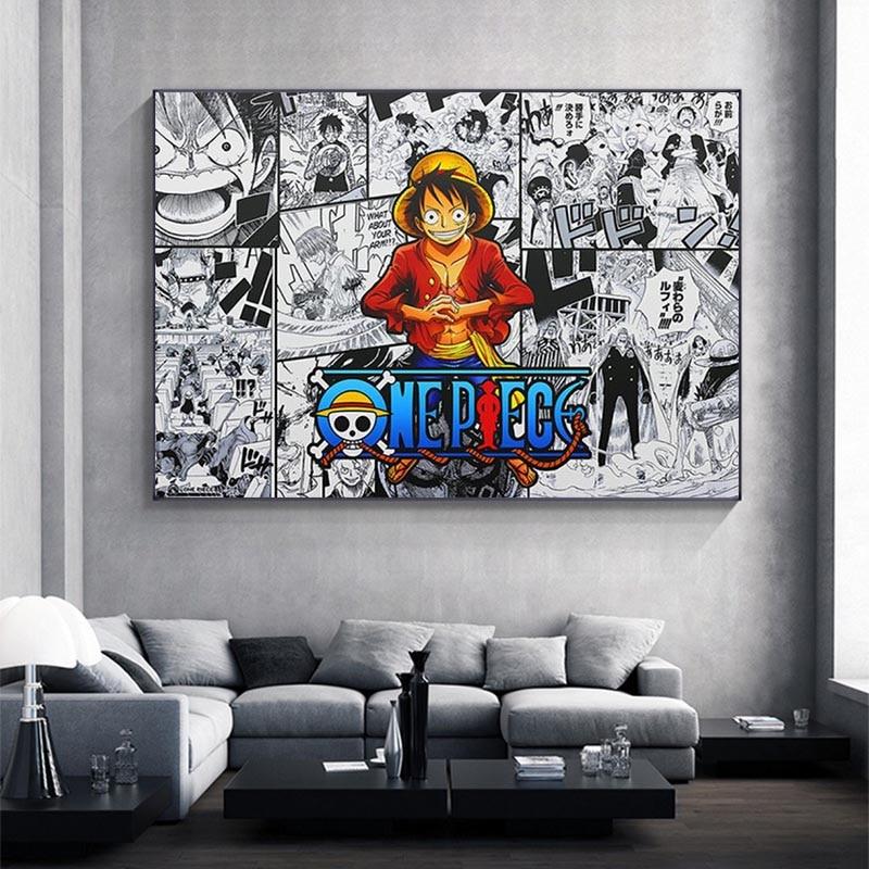 Póster e impresiones de Anime de una pieza para niños, cuadro de Arte de pared, lienzo, decoración de pared, dormitorio, estudio, habitación, arte
