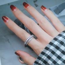 лучшая цена New Fashion Silver Zircon Rings 925 Double Layer Design Charm Adjustable ring For Women Wedding Rings Jewelry Gift