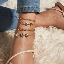 4 pcs gold butterfly  ankle bracelet boho anklets  for women beach accessories cuban link anklet initial wholesale body chain 2020 new women s fashion cuban link anklets jewelry alloy shell bohemia beach gold anklet wholesale best friend gifts
