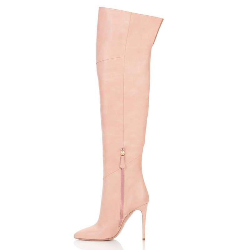 Knee High Boots Woman Pointed Toe Thin