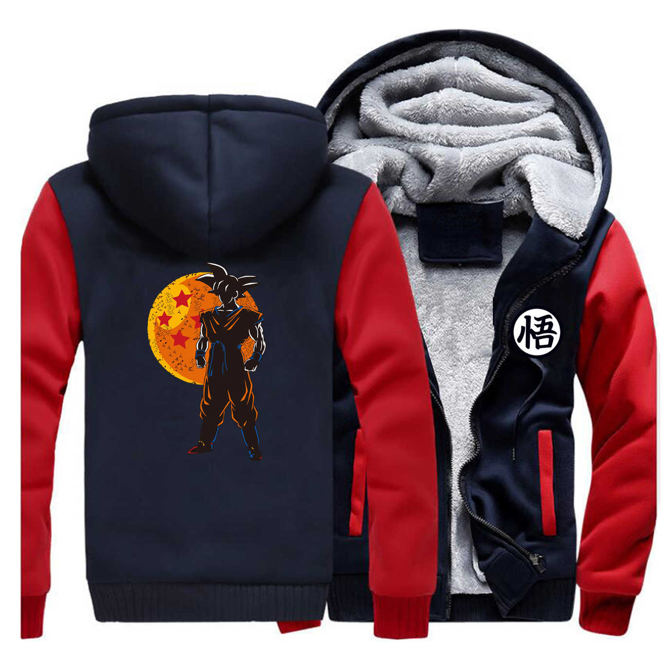 Warme Dicke Fleece Männer Winter Jacke Dragon Ball Mantel Japan Anime Mäntel Hoodies Harajuku Jacken Sweatshirt Streetwear